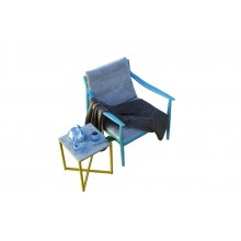 Colonial Imprint Arm Chair In Blue and Cocoa Finish