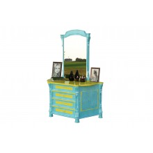 Colonial Imprint Dressing Table With Blue And Yellow Paint