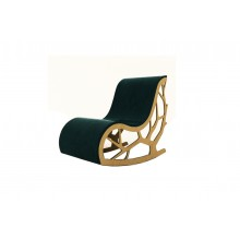 Flair Rocking Chair In Velvet Fabric and Wood Finish