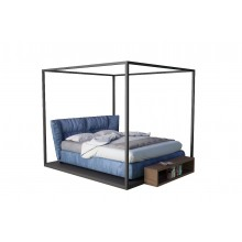 Poster Perfect Canopy Modern Bed Metal and Blue Fabric