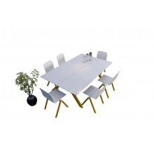 White Scale Dining Table With 6 Seater White Chair