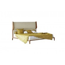 Woody Tones Queen Size Bed in Teak Wood and Fabric Finish