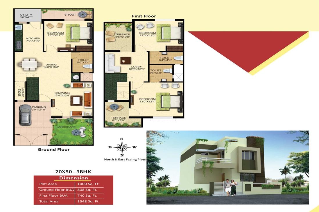3bhk row house 1548 sqft for sale in kumhari raipur homeonline
